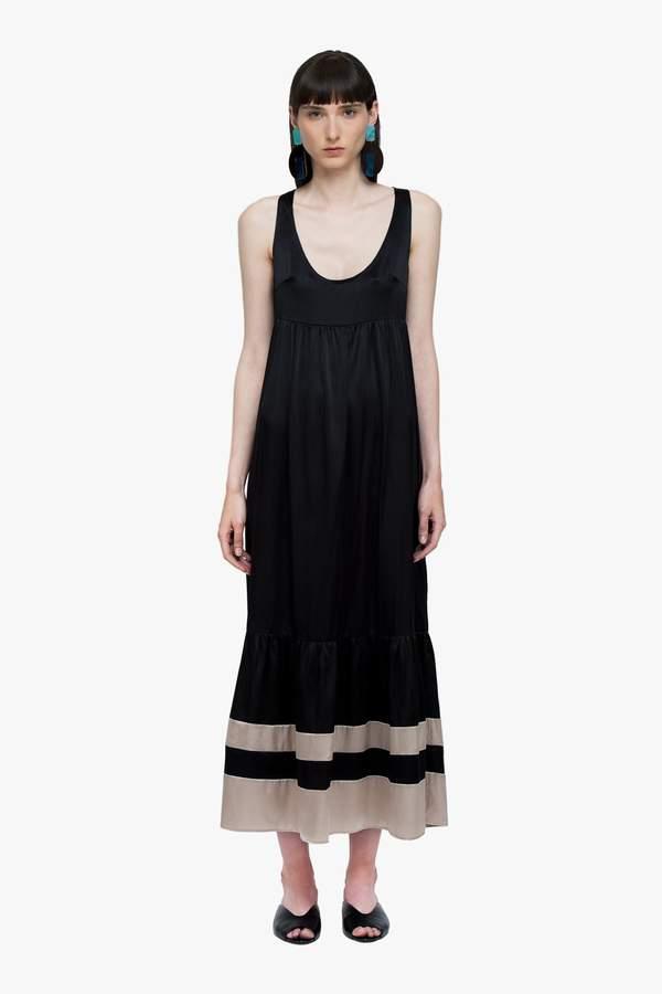Genuine People Silk Ruffle Midi Dress