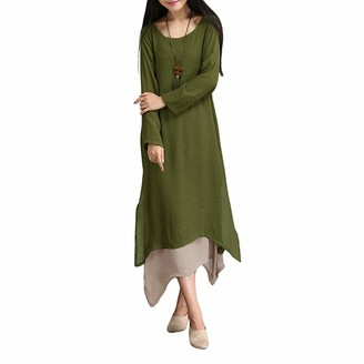 Romacci Women Vintage Dress Contrast Double Layer Casual Loose Boho Long Plus Size Retro Maxi Dress Coffee