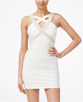 Crystal Doll Juniors' Embellished Crisscross Bodycon Dress