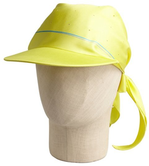Hermes yellow silk cap with scarf
