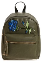 Girl's Omg Sequin Rose Applique Faux Leather Backpack - Green