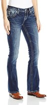 Miss Me Women's Stud and Embroidered Back Yoke Boot Cut Jean