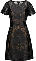 Marchesa Satin Corded-Lace Dress