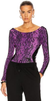 Dundas for FWRD Bodysuit in Purple & Black Python Print | FWRD
