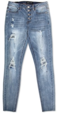 Almost Famous Juniors' High-Rise Destructed Skinny Jeans