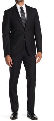 Calvin Klein Solid Black Wool Two Button Notch Lapel Suit