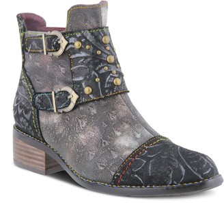 Spring Step L'Artiste Embossed Floral Leather Toe Cap Booties - Nailhead