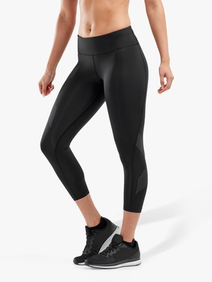2XU Mid-Rise Compression 7/8 Training Tights, Black/Silver Reflective