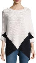Minnie Rose Colorblock Poncho Sweater, White/Black
