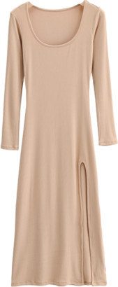 Goodnight Macaroon 'Lily' Basic Ribbed Side Slit Dress (4 Colors)
