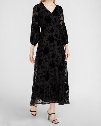 Express Metallic Floral Velvet Maxi Dress