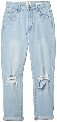 Cotton On Teen Stretch Mom Jeans in Brooklyn Blue Rips (Brooklyn Blue Rips) Girl's Jeans
