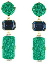 Oscar de la Renta Carved Resin and Crystal Earrings