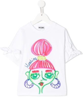 MOSCHINO BAMBINO TEEN bow sleeve T-shirt
