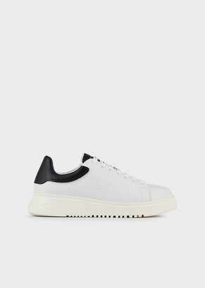 Emporio Armani Leather Sneakers With Logo Laces