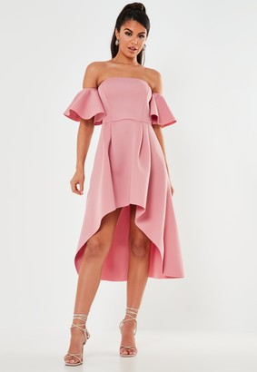 Missguided Blush Bardot High Low Scuba Midi Dress