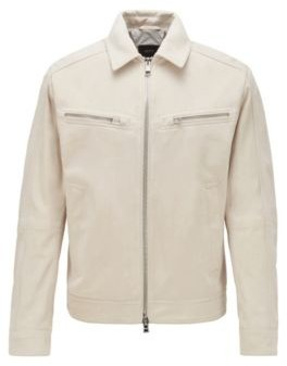 HUGO BOSS Biker Style Jacket In Suede With Zipper Details - White