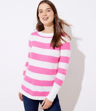 LOFT Stripe Textured Shirttail Sweater
