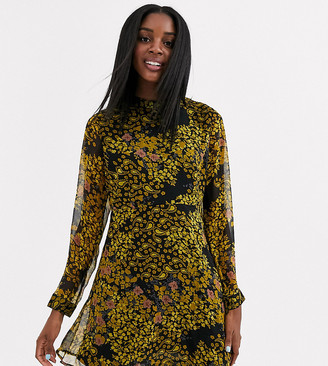 JDY high neck chiffon skater dress in yellow floral