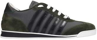 DSQUARED2 New Runner Sneakers In Green Suede And Leather