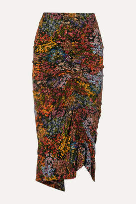 Preen by Thornton Bregazzi Aaliyah Ruched Floral-print Stretch-crepe Midi Skirt - Brown