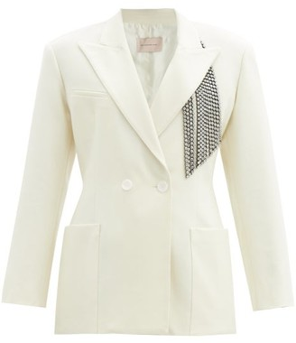Christopher Kane Crystal-embellished Brushed Wool-twill Suit Jacket - Womens - Ivory