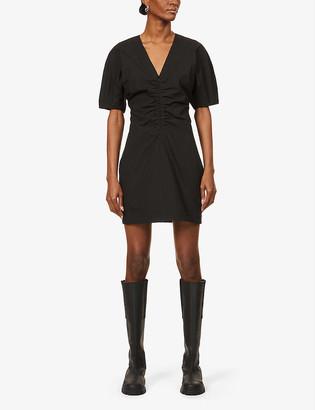 BA&SH Moja ruched-waist cotton-stretch mini dress