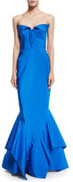 Zac Posen Strapless Sweetheart-Neck Trumpet Gown, Brilliant Blue