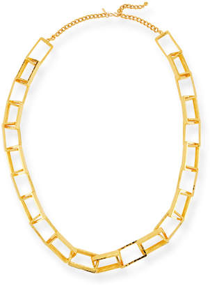 Kenneth Jay Lane Long Gold-Plated Box Chain Necklace