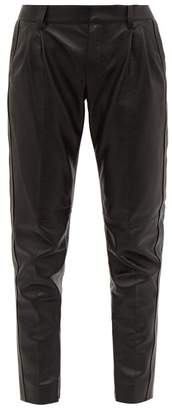 Saint Laurent Tapered Leather Trousers - Womens - Black