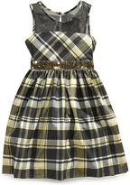 Bonnie Jean Girls Dress, Girls Illusion-Neck Plaid Dress