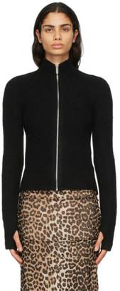 Ganni Black Alpaca Soft Zip-Up Sweater