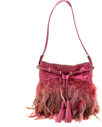 DKNY Metallic Pink Feather and Leather Shoulder Bag
