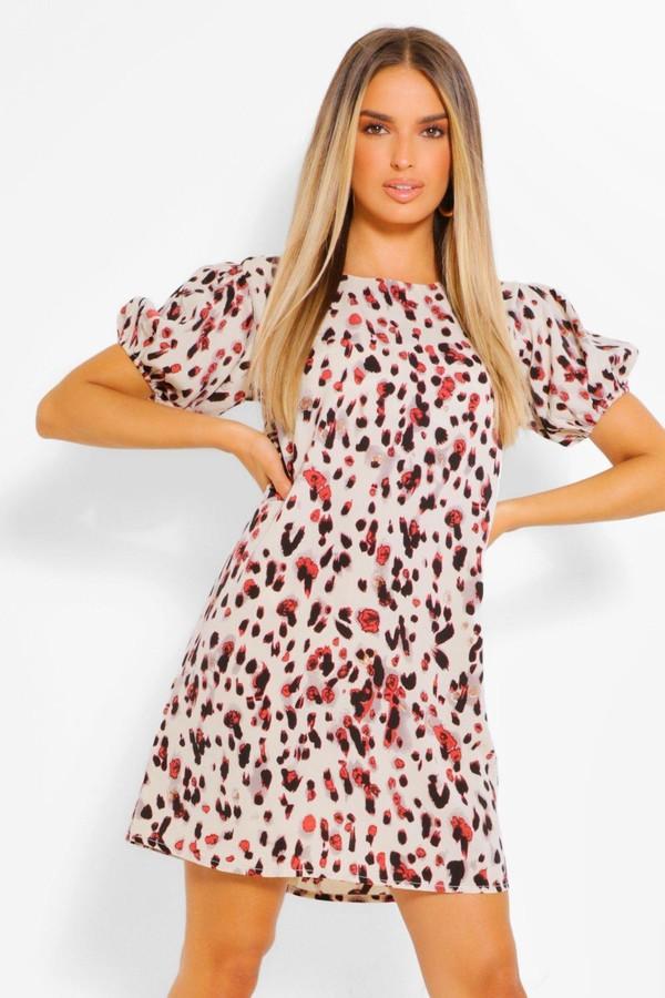 boohoo Leopard Print Puff Sleeve Shift Dress