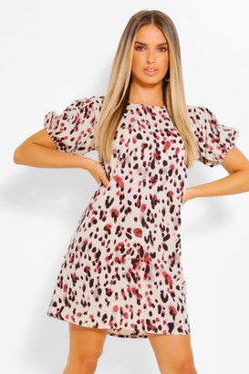 boohoo Leopard Print Puff Sleeve Shift Dress