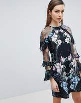 Lipsy Shift Dress with Ruffle Sleeve in Floral