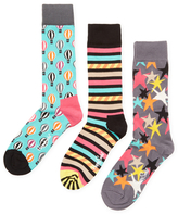 Happy Socks Parachute, Stripes & Starry Socks (3 PK)