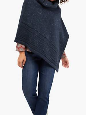 White Stuff Merino Wool Poncho, Opal Navy