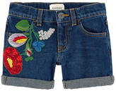 Gucci Embroidered jean shorts