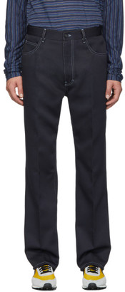 Marni Navy Techno Whipcord Trousers