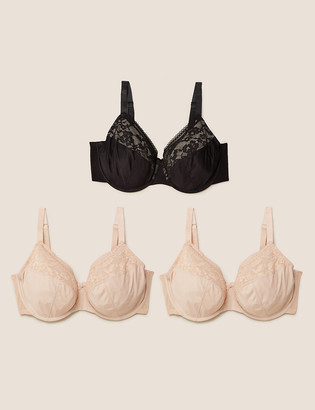Marks and Spencer 3pk Lace Trim Underwired Full Cup Bras F-H