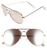 BP Women's Mirrored Aviator 57Mm Sunglasses - Black/ Silver