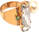 Helene Zubeldia Crystals and Glass Pearls Art Deco adjustable ring