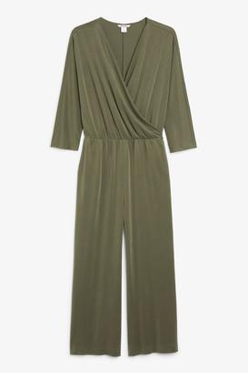 Monki Super-soft long sleeve wrap jumpsuit