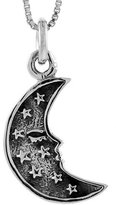 Sabrina Silver Sterling Silver Crescent Moon w/ Tiny Stars Pendant Handmade, 1 inch long