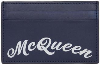 Alexander McQueen Navy Logo Card Holder