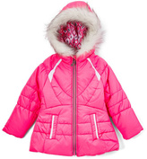 London Fog Fuchsia Faux Fur-Accent Puffer Coat & Scarf - Girls