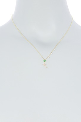 Meira T 14K Yellow Gold Emerald & Diamond Flower Pendant Necklace