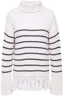 Each X Other Crochet-trimmed Striped Merino Wool Turtleneck Sweater