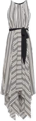 Halston Asymmetric Cutout Striped Crepe Maxi Dress